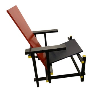1950s Vintage Gerrit Rietveld Style Red-Blue Mondrian De Stijl Wood Chair For Sale