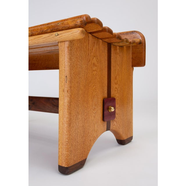Andrew Stauss Studio Craft Bench in Oak and Walnut For Sale - Image 10 of 12