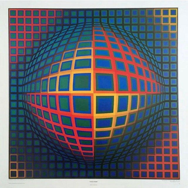 Op Art Victor Vasarely VEGA NOR, Exhibition Poster Circa 1980 For Sale - Image 3 of 3
