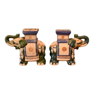 1960s Blue and Green Ceramic Elephants Plant Stands- a Pair For Sale