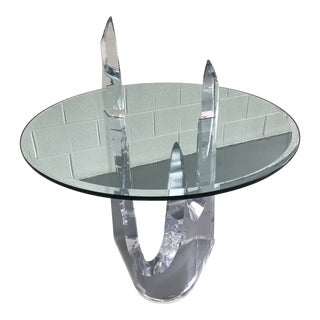 1970s Mid-Century Modern Lion in Frost Lucite & Glass Center Table For Sale