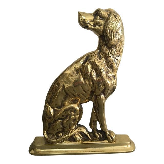 Vintage Mid-Century Harvin Brass Dog Doorstop For Sale