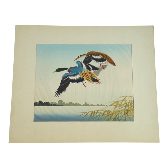 Vintage Japanese Ducks Silk Painting - Image 1 of 5