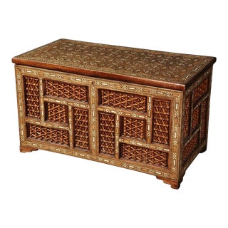 Moroccan Carved Inlaid Bone 1850s Era Trunk Chest Coffee Table For Sale