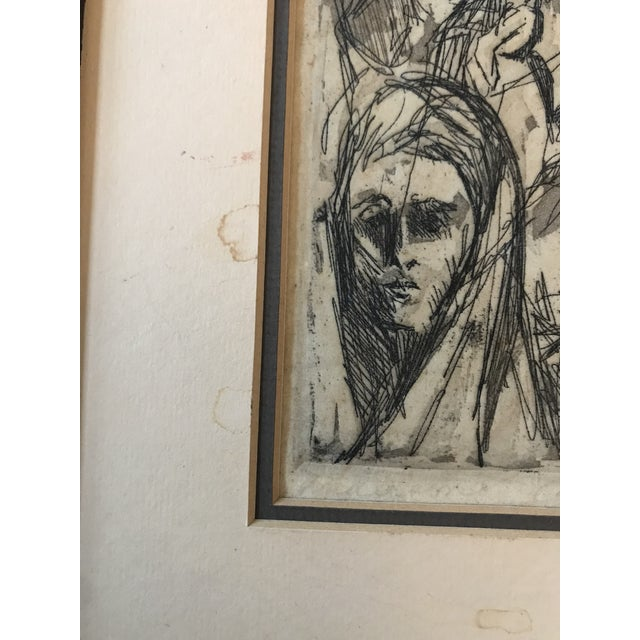 Abstract Mid Century Etching of People For Sale - Image 3 of 8