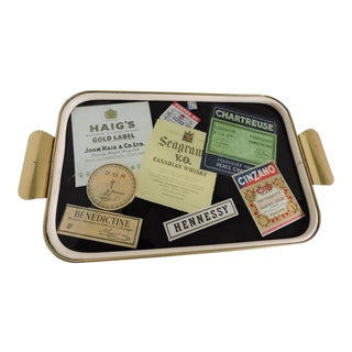 1960s Vintage Germany Whiskey Label Bar Tray For Sale