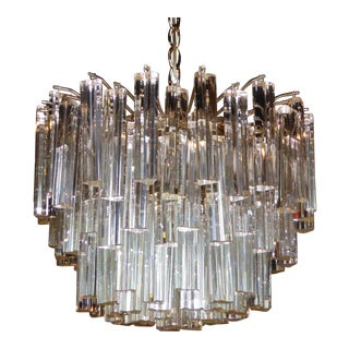 Camer Glass Chandelier with Venini Triedri Crystals For Sale