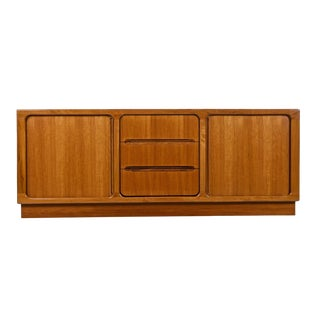 Vintage Danish Modern Teak Tambour Door Media Cabinet Credenza, Circa 1970s For Sale