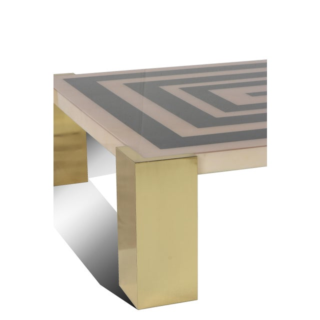 """Sylvan S.F. Goatskin Inlay """"Mioni Coffee Table"""" With Brass Cube Legs by Sylvan s.f. For Sale - Image 4 of 5"""