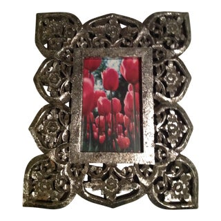 Antique Silver Leaf Wood Carved Picture Frame With Glass For Sale