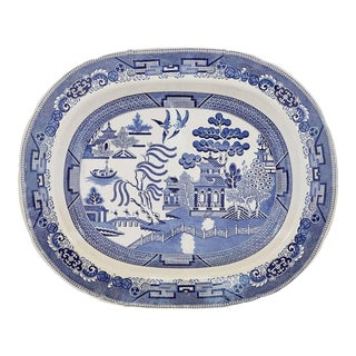 Staffordshire Pottery Blue & White Large Printed Chinoiserie Dish For Sale