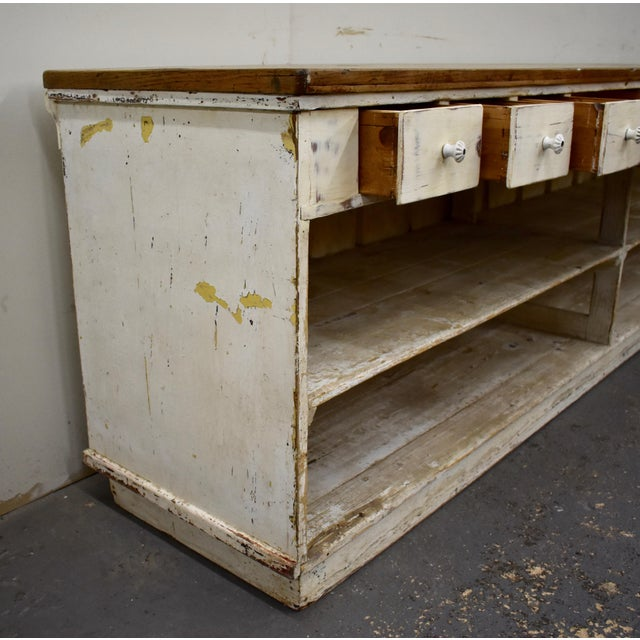 White Massive Vintage Painted Pine and Oak Store Counter For Sale - Image 8 of 13