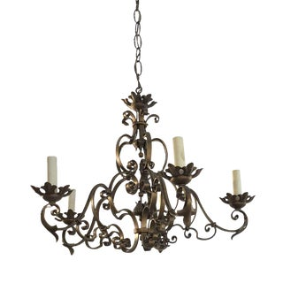 Early 20th Century Floral Wrought Iron With Copper Finish Chandelier For Sale