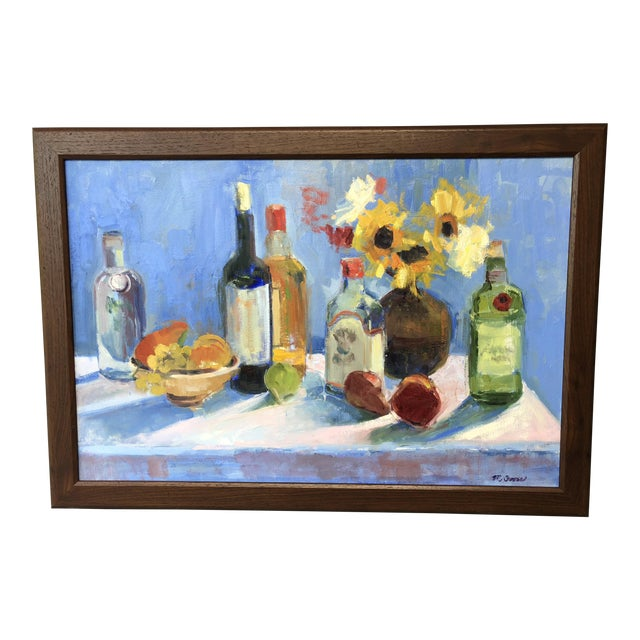 Colorful Still Life Painting With Fruit, Flowers and Bottles For Sale