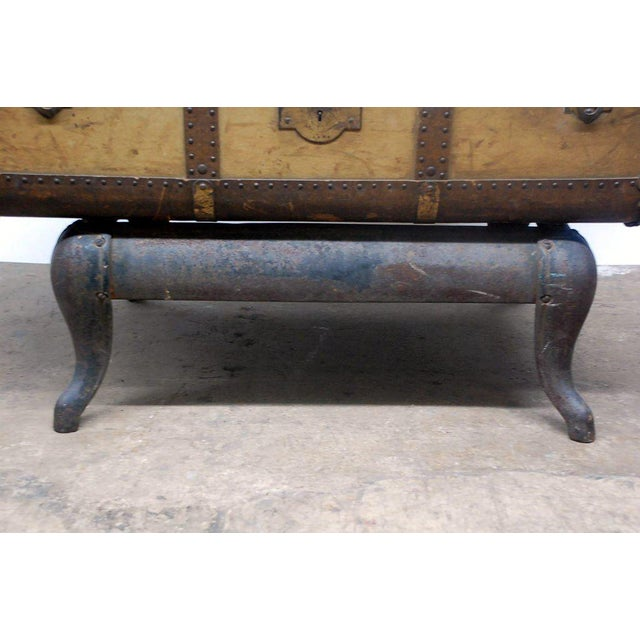 Brass Early 20th Century Indestructo Trunk on Industrial Stand For Sale - Image 7 of 8