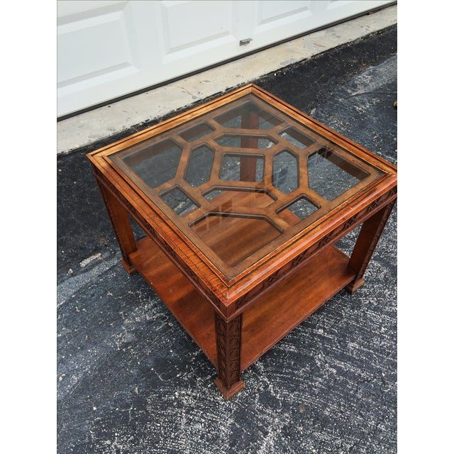 Chinese Chippendale Wood Fretwork Side Table - Image 5 of 7