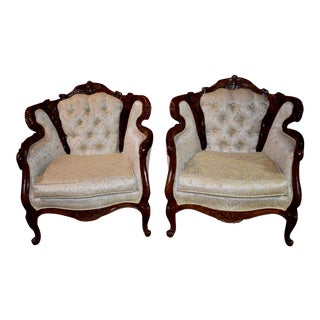 1970s Vintage Carved Wood French Provincial Style Tufted Accent Chairs- A Pair For Sale