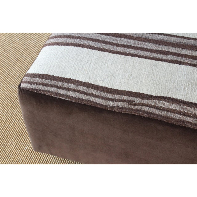 Upholstered Ottoman in Vintage Striped Navajo Rug For Sale - Image 4 of 11