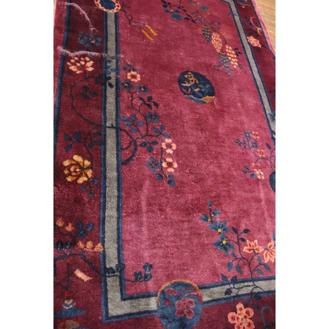 Wood Antique Art Deco Chinese Rug For Sale - Image 7 of 11
