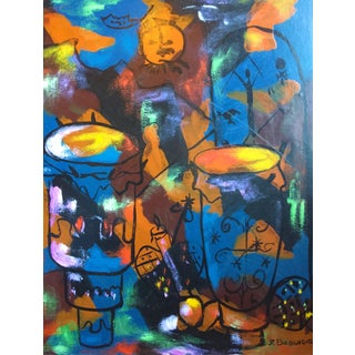 """1950s Haitian Artist Abstract Painting """"Drums"""" For Sale"""