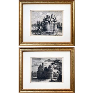 Antique Original Etchings of French Chateau by Eugene Sadoux a Pair Paris C.1860 For Sale