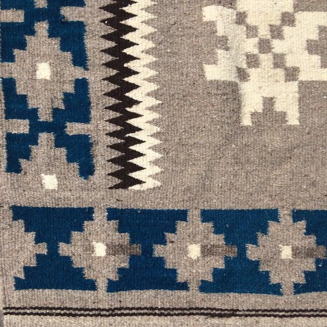 """Vintage Navajo Style Blanket Rug - 4'9"""" X 9"""" - Image 3 of 10"""
