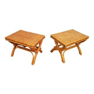 Tropical Chic Rattan Folding Stools - A Pair