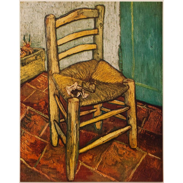 """A lovely circa 1950s vintage tipped-in lithograph after painting """"Van Gog's Chair"""" (1888-1889, Arles) by Vincent Van Gogh...."""
