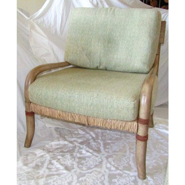 Woven Rattan & Bent Bamboo Chair & Ottoman - Image 3 of 5
