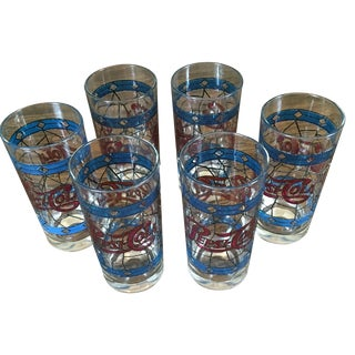Pepsi-Cola Tiffany Style Glasses - Set of 6 For Sale
