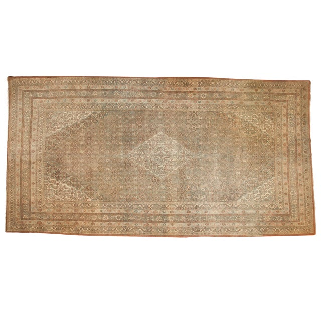 "Vintage Distressed Bibikabad Carpet - 9'5"" X 18'2"" For Sale"