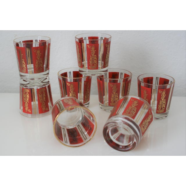 Glass Mid-Century Red & Gold Mandalay Thai Goddess Rock Glasses - Set of 8 For Sale - Image 7 of 7