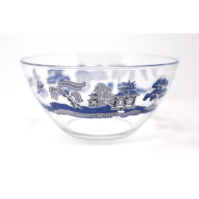 "Glass Vintage ""Blue Willow"" Glass Serving Bowl by Johnson Brothers For Sale - Image 7 of 10"