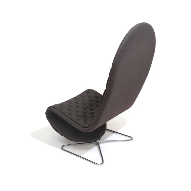 Verner Panton High Back Lounge Chair in Grey Wool For Sale In San Francisco - Image 6 of 9