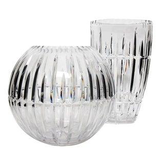 1980's Vintage Polish Ceskci Signed Modern Hand Cut Clear Lead Crystal Vases - Set of 2 For Sale