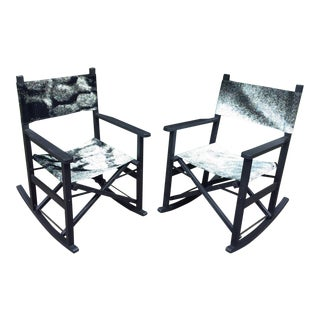 Folding Teak Rocking Chairs - a Pair