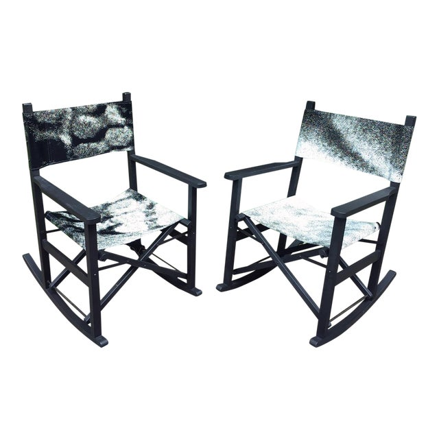 Folding Teak Rocking Chairs - a Pair For Sale