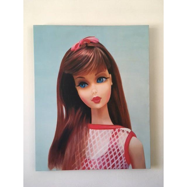 "Figurative ""Twist 'N Turn"" Barbie Oil Painting For Sale - Image 3 of 11"
