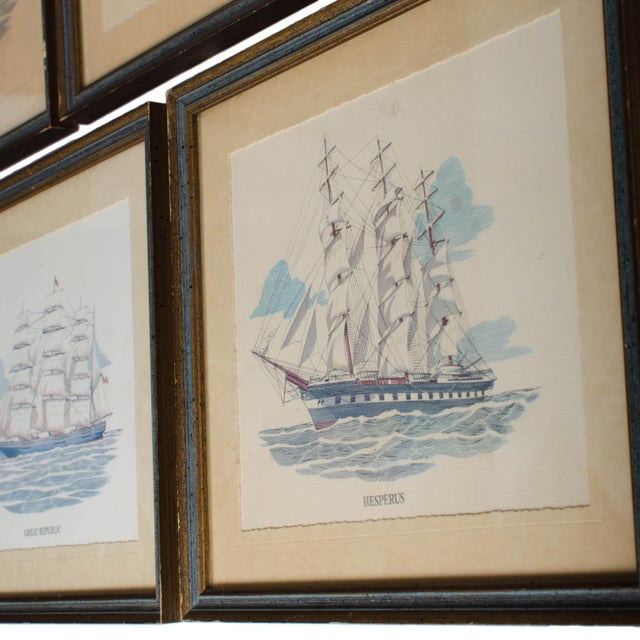 Nautical Vintage Sailing Ship Framed Print Collection - Set of 7 For Sale - Image 3 of 6