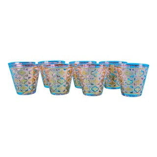Set of 8 Culver Cuv 16 Swirl Cocktail Glasses For Sale