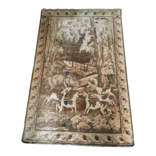 Vintage Wool and Silk Tapestry Depicting a Boar Hunt For Sale