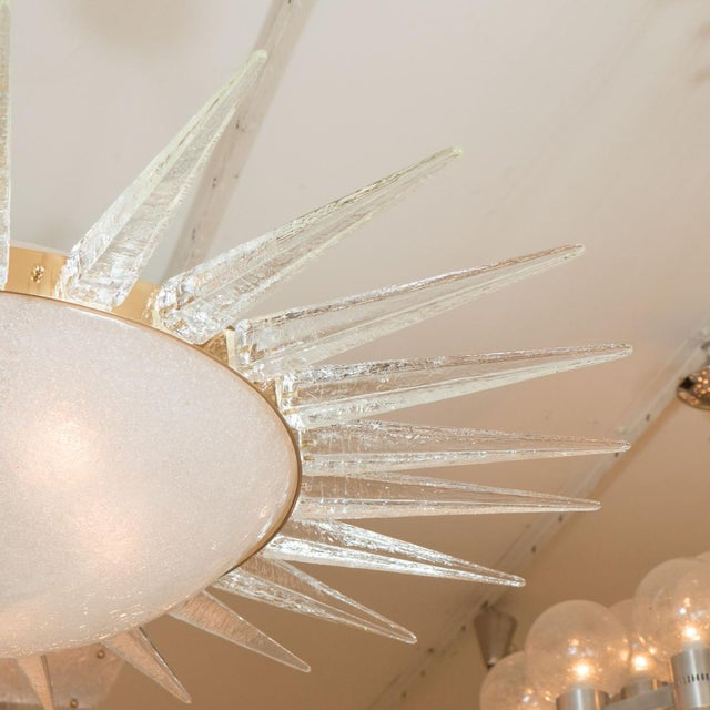 Art Deco Sunburst Form Frosted Glass Pendant Ceiling Fixture For Sale - Image 3 of 5