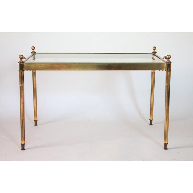 Petite Brass Glass Coffee Table Or Side Table Chairish - Coffee table no legs