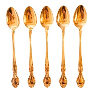 Gold Plated Iced Tea Spoons - Set of 5 For Sale