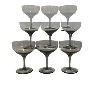 1970s Vintage Smoke Gray Champagne Coupes - Set of 9