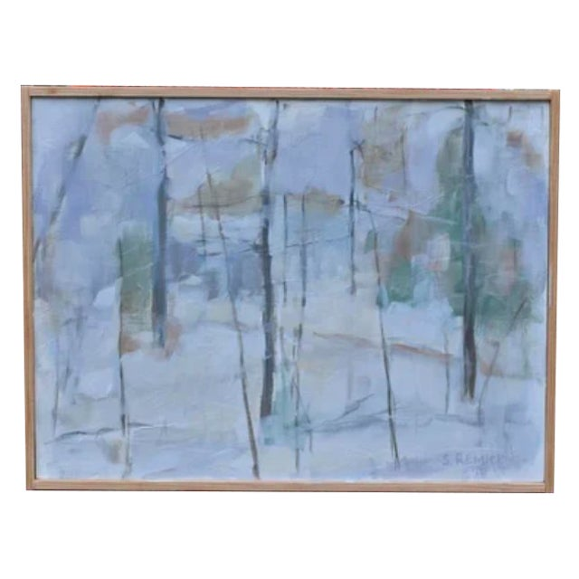 """Stephen Remick """"Winter Woods"""" Painting For Sale"""