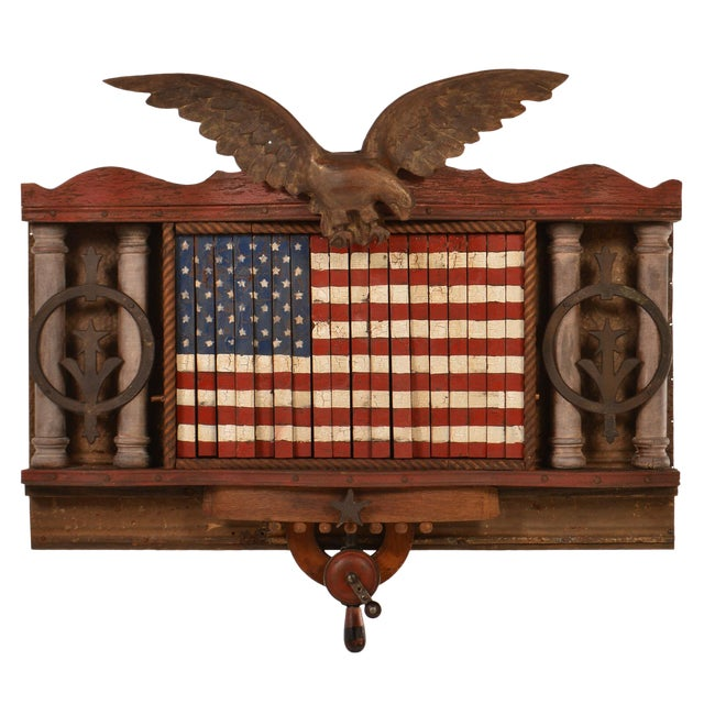 FOREVER SHE WAVES #2 Mechanical American Flag with Eagle For Sale - Image 10 of 10