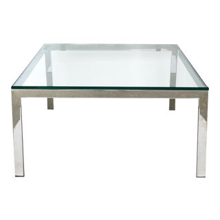 Contemporary Italian Stainless Steel & Glass Cube Coffee Tables, Two Available