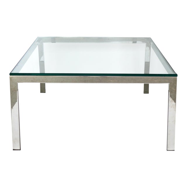 Contemporary Italian Stainless Steel & Glass Cube Coffee Tables, Two Available For Sale