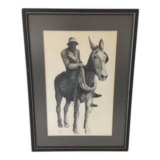 Vintage Mid-Century Man and Mule Original Pen and Ink Drawing For Sale